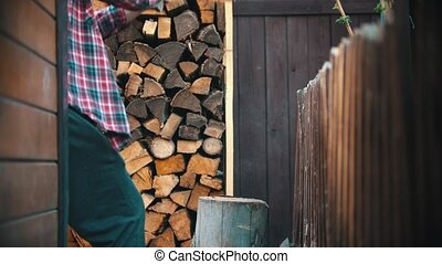 Woodcutter trying to chop the log several times. Mid shot