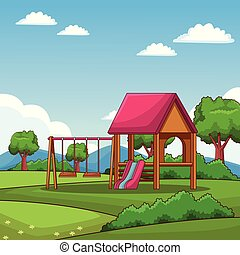 Woode playhouse at park cartoons vector illustration graphic...