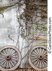 wooded cart wheel