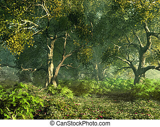 Wooded Meadow - a forest meadow with pink flowers and...
