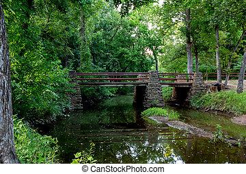 Wooded Park Bridge Over Creek