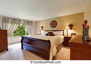 wooden ágy, tágas, hálószoba, belső, kedves
