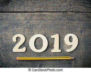 Wooden 2019 on rustic wood
