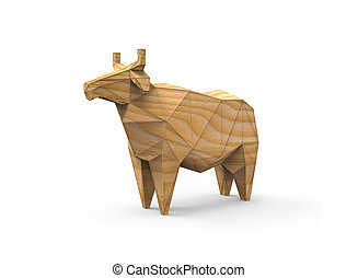 Wooden 3D polygonal illustration of cow figure