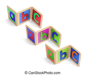 Wooden ABC Pieces on White Background