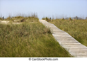 Wooden access pathway to beach. - Wooden access path to...