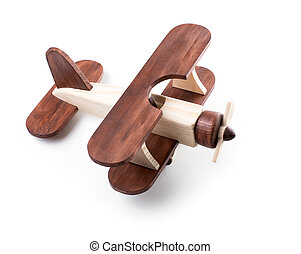 Wooden airplane model from above view isolated on white
