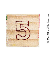 Wooden alphabet block with numeral 5isolated on white
