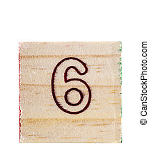 Wooden alphabet block with numeral 6 isolated on white