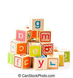 Wooden alphabet blocks. Baby Blocks