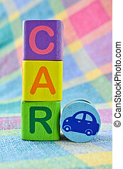 Wooden alphabet blocks - Car