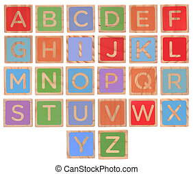 Wooden alphabet blocks isolated on white background