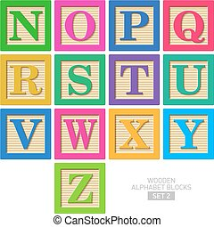 Wooden alphabet blocks - Set 2
