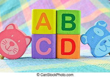 Wooden alphabet blocks toy