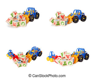Wooden alphabet blocks with a toy tractor