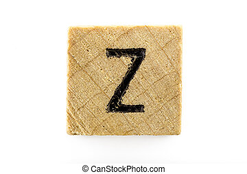 Wooden alphabet blocks with letters Z