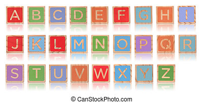 Wooden alphabet blocks with reflection isolated on white background