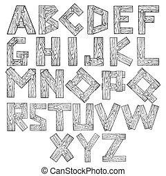 Wooden alphabet engraving vector illustration. Font art....