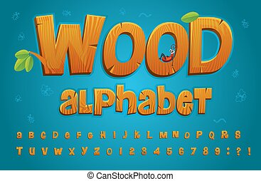 Wooden alphabet in cartoon style with set of letters