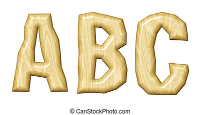 Wooden alphabet isolated on white background.