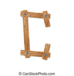 wooden alphabet - letter C on white background