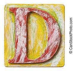 Wooden alphabet letter D