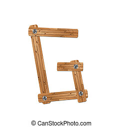 wooden alphabet - letter G? on white background