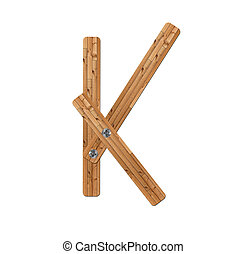 wooden alphabet - letter K? on white background