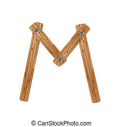 wooden alphabet - letter M on white background