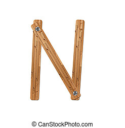 wooden alphabet - letter N? on white background