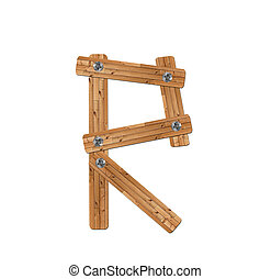 wooden alphabet - letter R? on white background