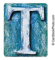 Wooden alphabet block, letter T