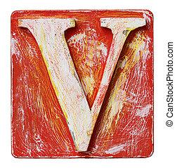 Wooden alphabet letter V