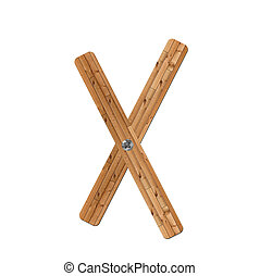 wooden alphabet - letter X? on white background