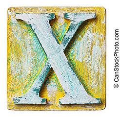 Wooden alphabet letter X