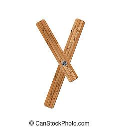 wooden alphabet - letter Y? on white background