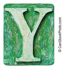 Wooden alphabet letter Y
