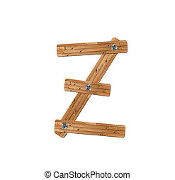 wooden alphabet - letter Z? on white background