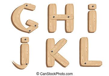 wooden alphabet letters G,H,I,J,K,L