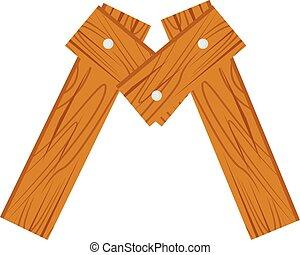 wooden alphabet M letter
