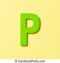 Wooden alphabet P in capital letter