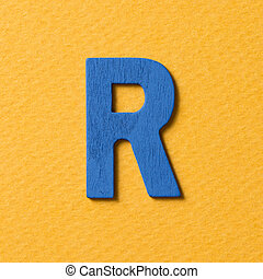 Wooden alphabet R in capital letter