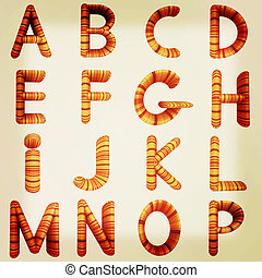 Wooden Alphabet set . 3D illustration. Vintage style.