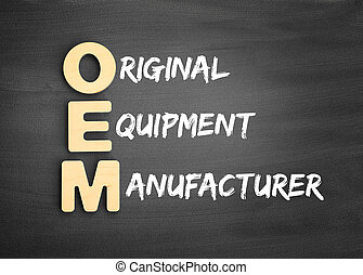 Wooden alphabets building the word OEM