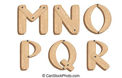 wooden alphabets M,N,O,P,Q,R