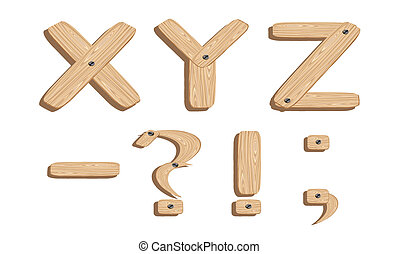 Wooden alphabets X,Y,Z