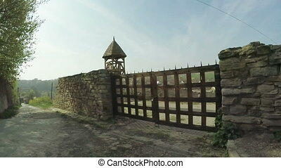 Wooden an ancient castle gate - Part of city walls and gates...