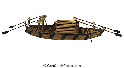 Wooden ancient old small ship model isolated on white background