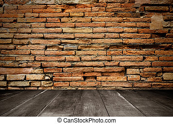 wooden and brick wall for background texture
