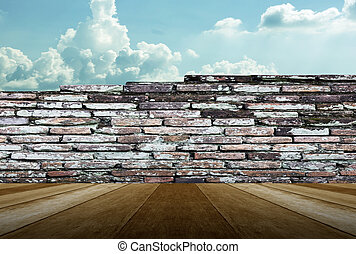 wooden and brick wall for sky background texture